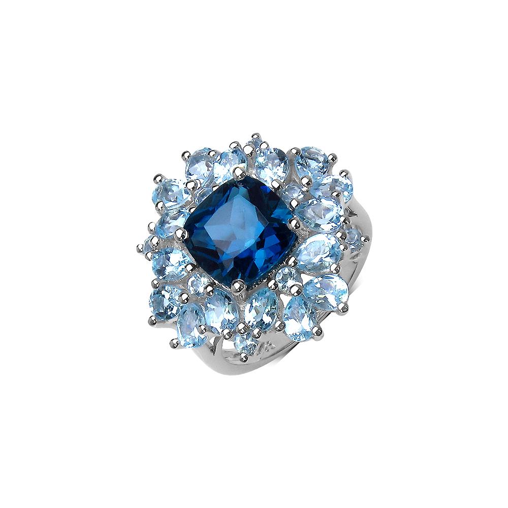 7.20 CTW London Blue Topaz & Blue Topaz Ring in Sterling Silver