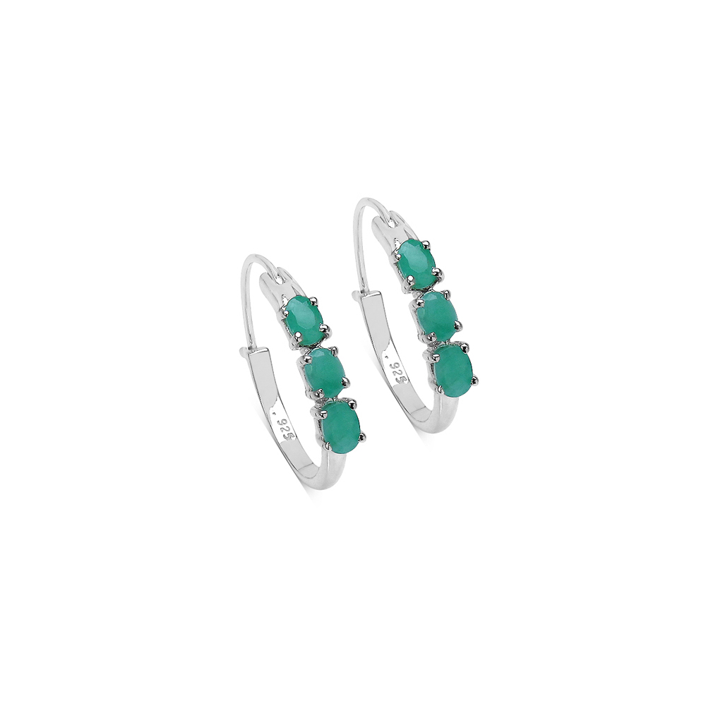 1.20 CTW Genuine Emerald Sterling Silver Earrings