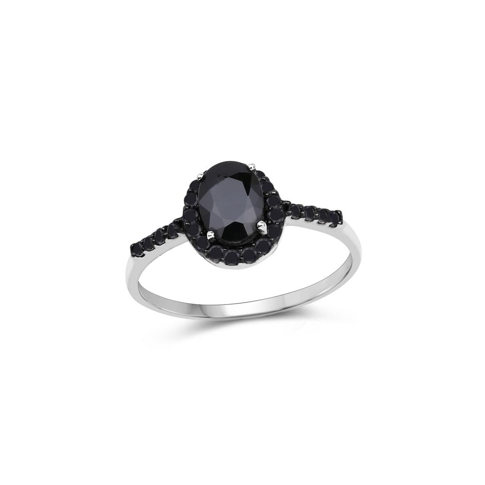 1.16 CTW Genuine Blue Sapphire & Black Diamond 10K White Gold Ring