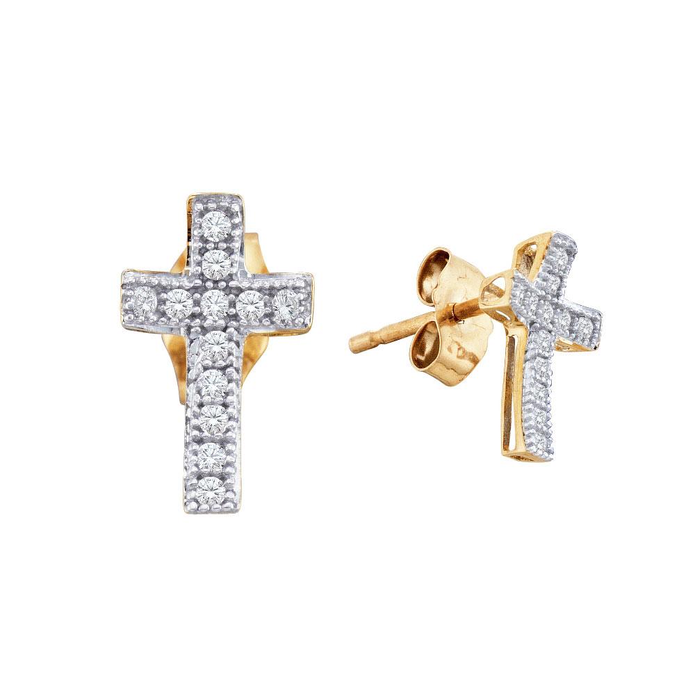 Diamond Cross Earrings 10kt Yellow Gold