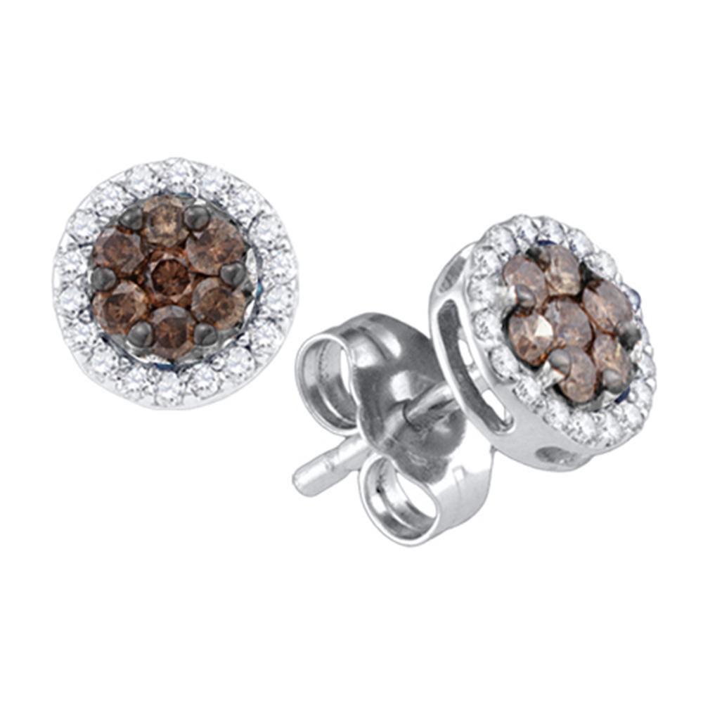 Brown Diamond Flower Cluster Screwback Stud Earrings 10k White Gold