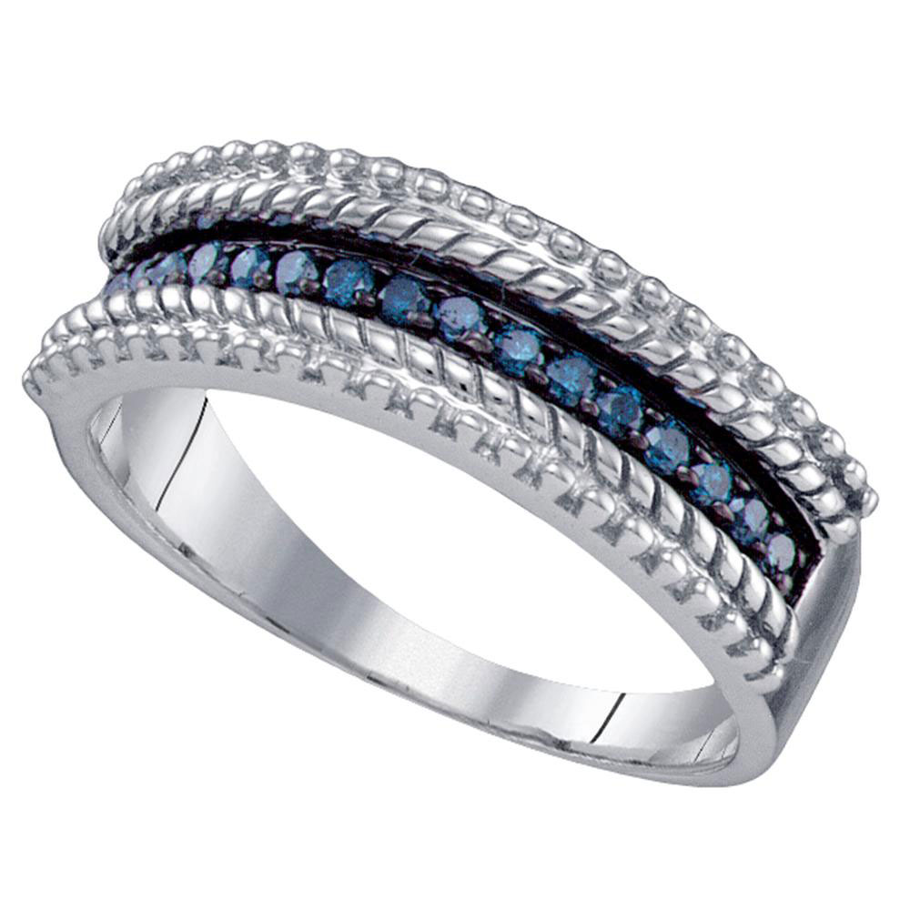 Blue Color Enhanced Diamond Milgrain Band Sterling Silver