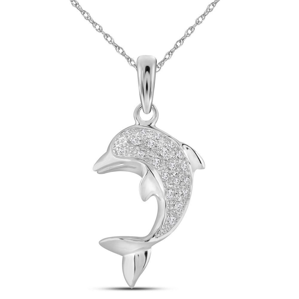 Diamond Dolphin Fish Animal Pendant 10kt White Gold