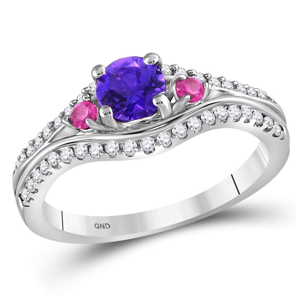 Lab-Created Amethyst Solitaire Pink Sapphire Ring Sterling Silver