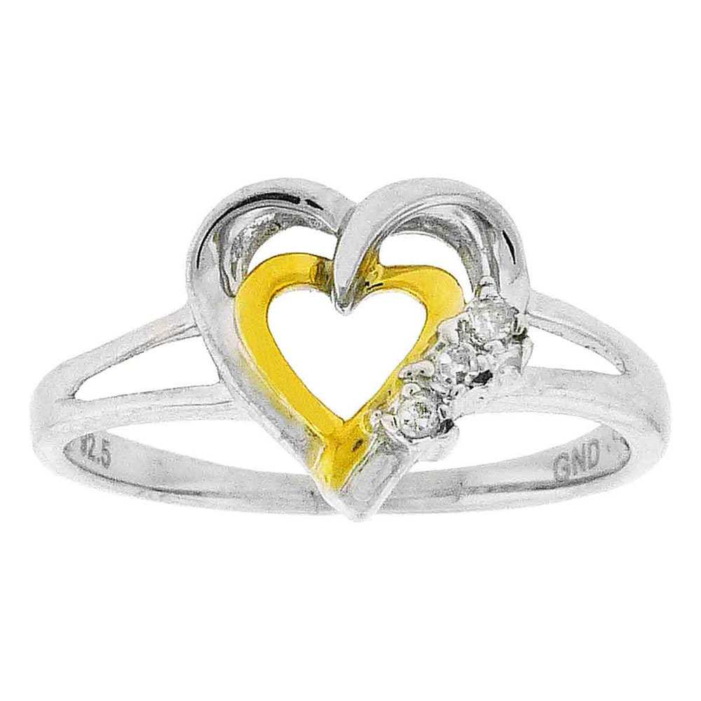 Diamond Double Heart Ring Two-tone Sterling Silver