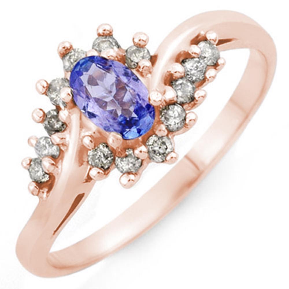 0.55 CTW Genuine Tanzanite & Diamond Ring 14K Rose Gold