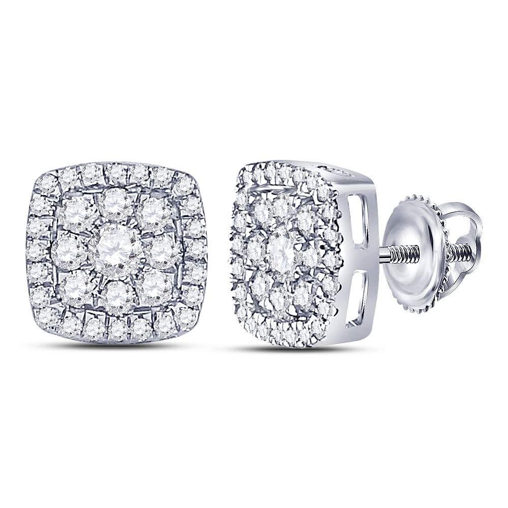 Diamond Square Cluster Earrings 14kt White Gold