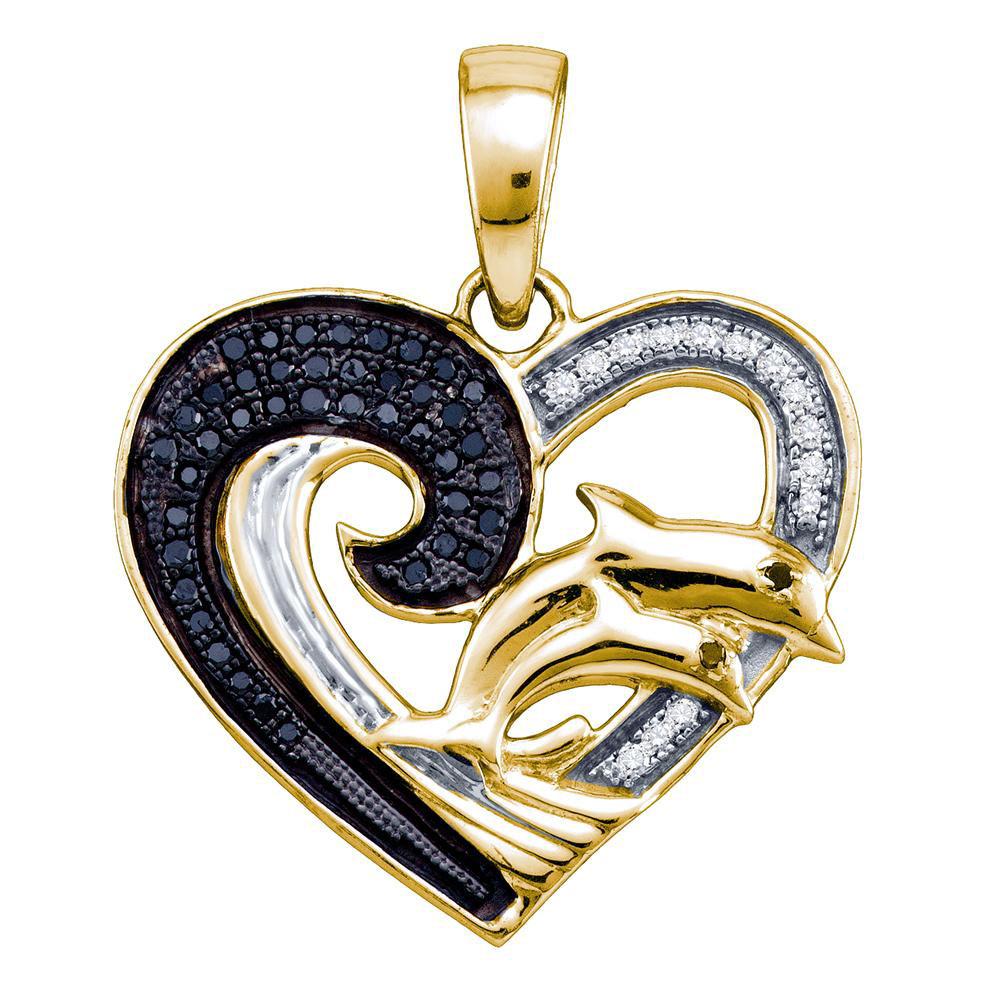 Black Color Enhanced White Diamond Yellow-tone Heart Double Dolphin Pendant Sterling Silver