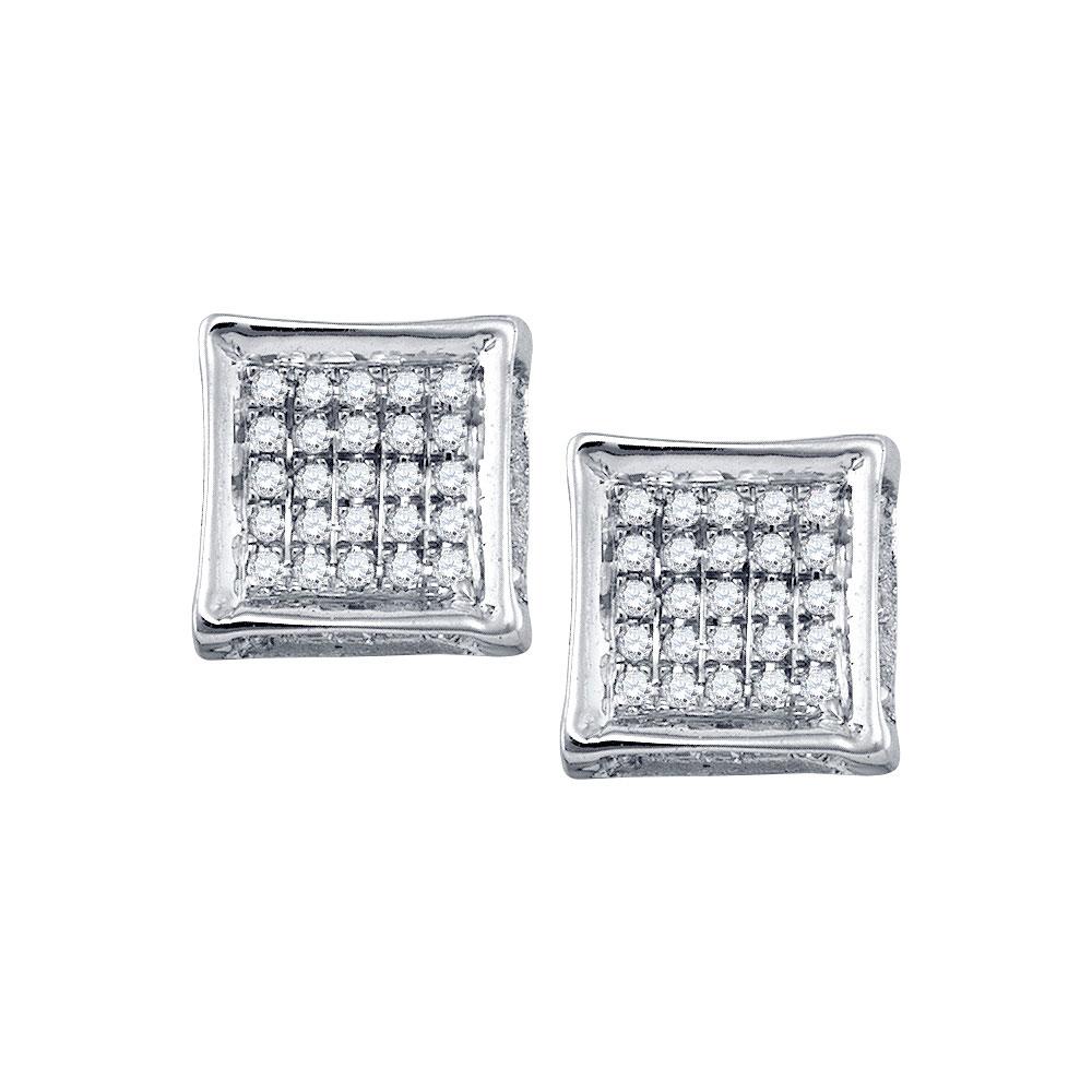 Mens Diamond Square Cluster Stud Earrings 10kt White Gold