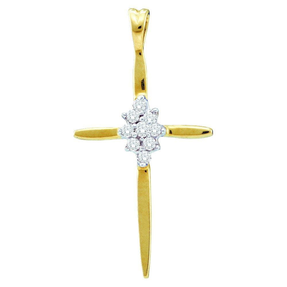Diamond Cross Faith Pendant 14kt Yellow Gold