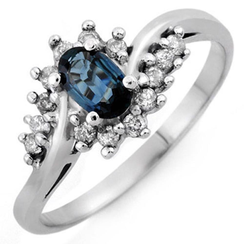 0.50 CTW Genuine Blue Sapphire & Diamond Ring 14K White Gold