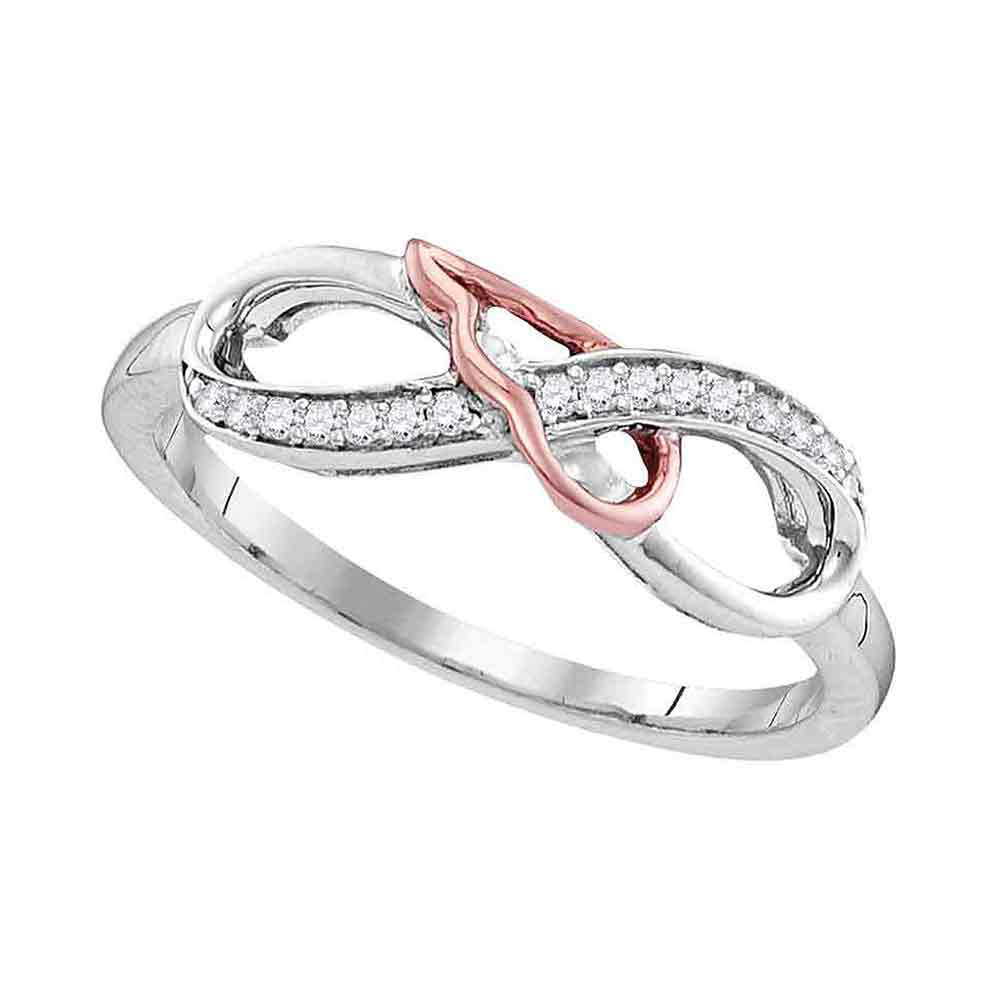 Diamond 2-tone Infinity Band Sterling Silver