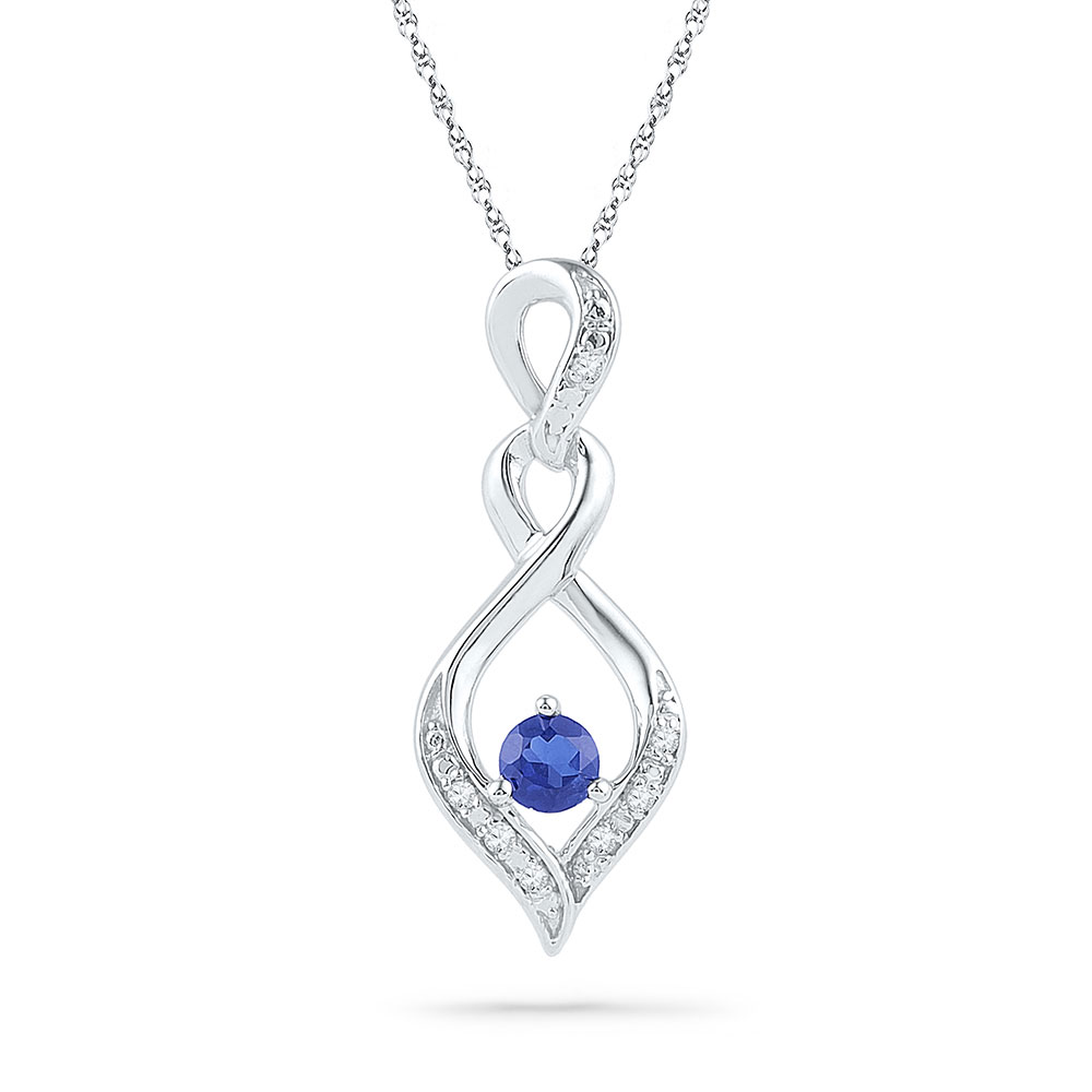 Lab-Created Blue Sapphire Solitaire Pendant 10kt White Gold