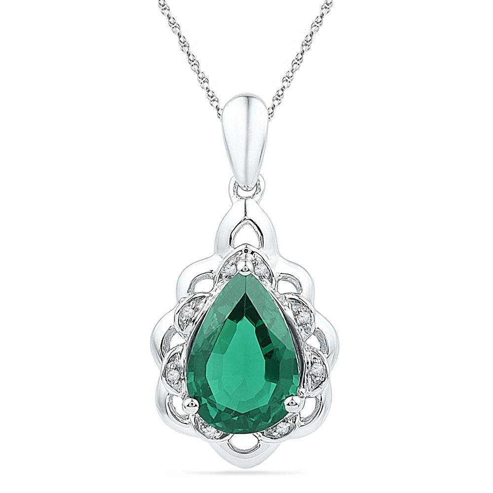 Pear Lab-Created Emerald Solitaire Diamond Pendant 10kt White Gold