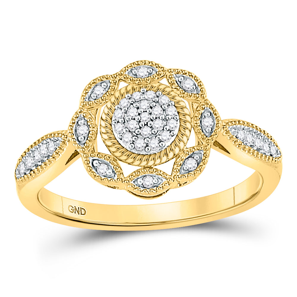 Diamond Milgrain Cable Cluster Ring 10kt Yellow Gold