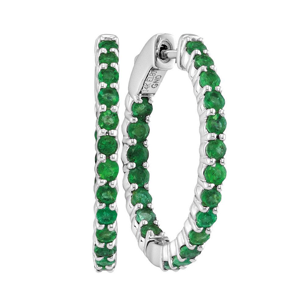 Emerald Inside Outside Hoop Earrings 14kt White Gold