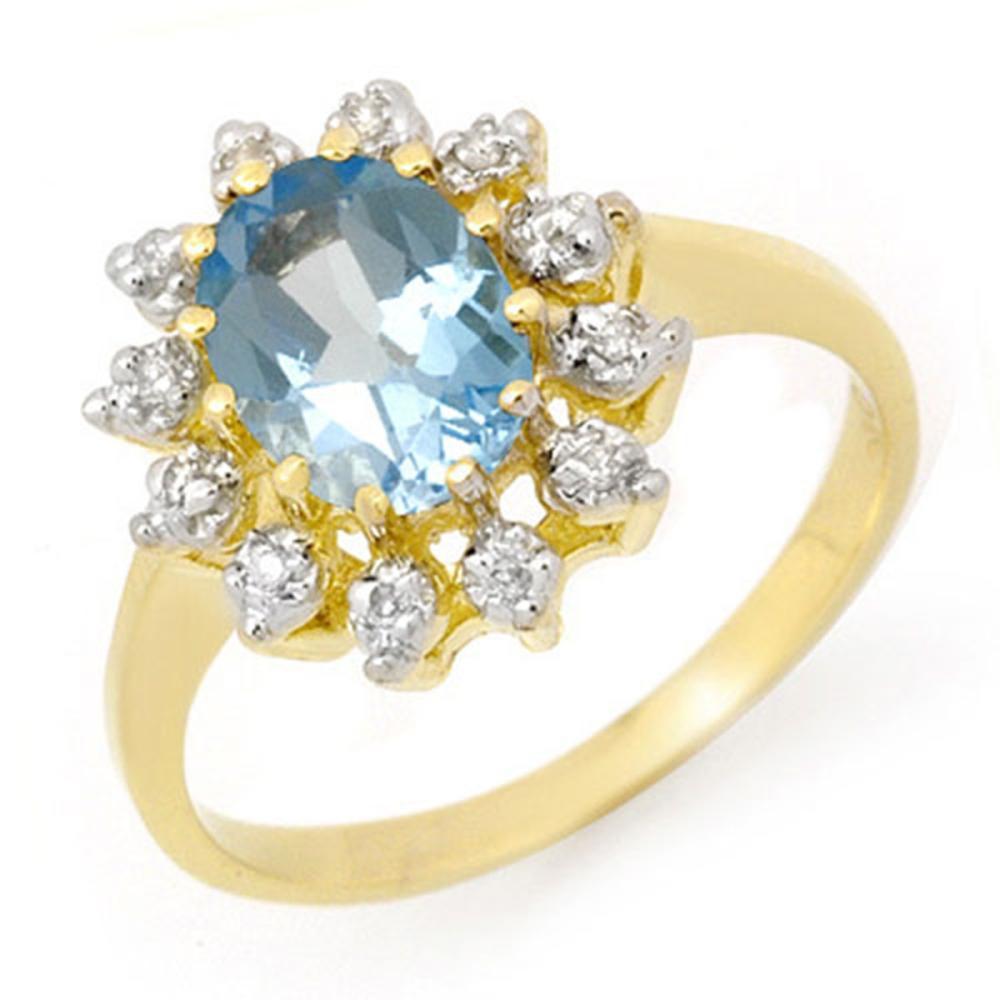 1.51 CTW Genuine Blue Topaz & Diamond Ring 10K Yellow Gold