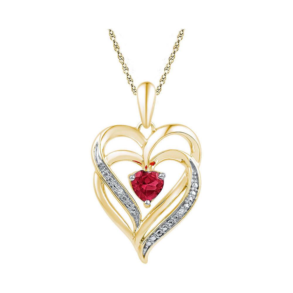 Lab-Created Ruby Heart Pendant Yellow-tone Sterling Silver