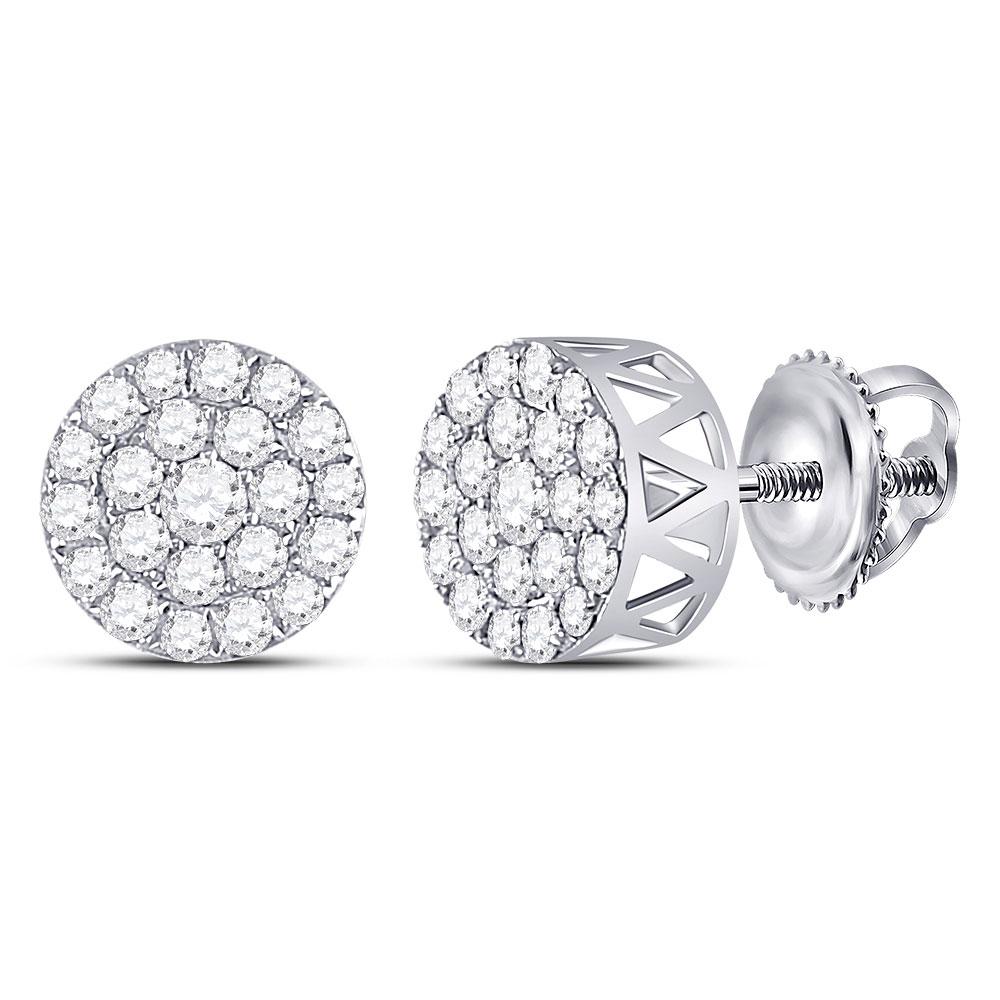 Diamond Circle Frame Cluster Earrings 14kt White Gold