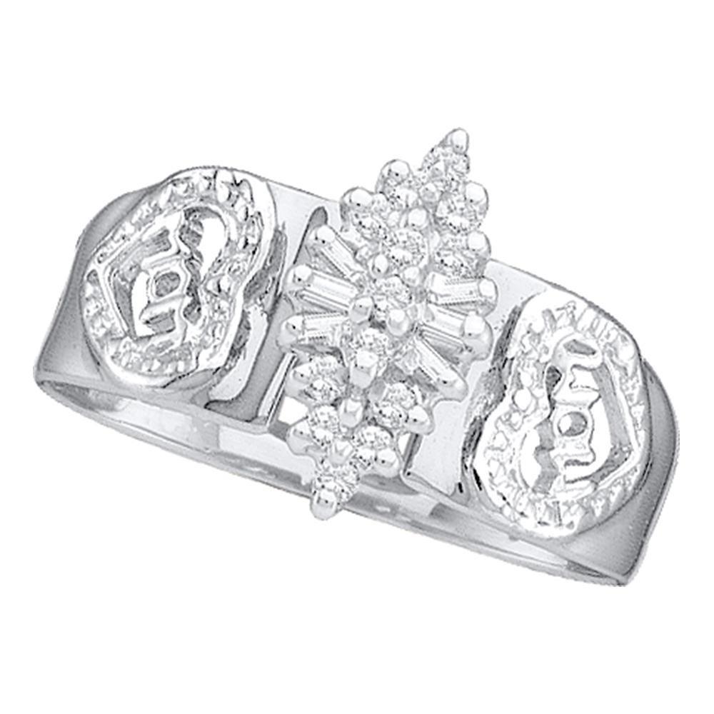 Diamond Mom Mother Ring 10kt White Gold