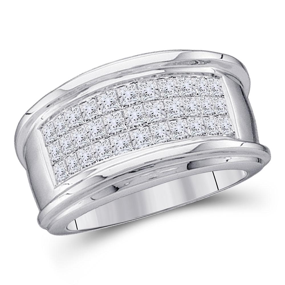 Mens Princess Diamond Comfort Wedding Anniversary Band 14kt White Gold