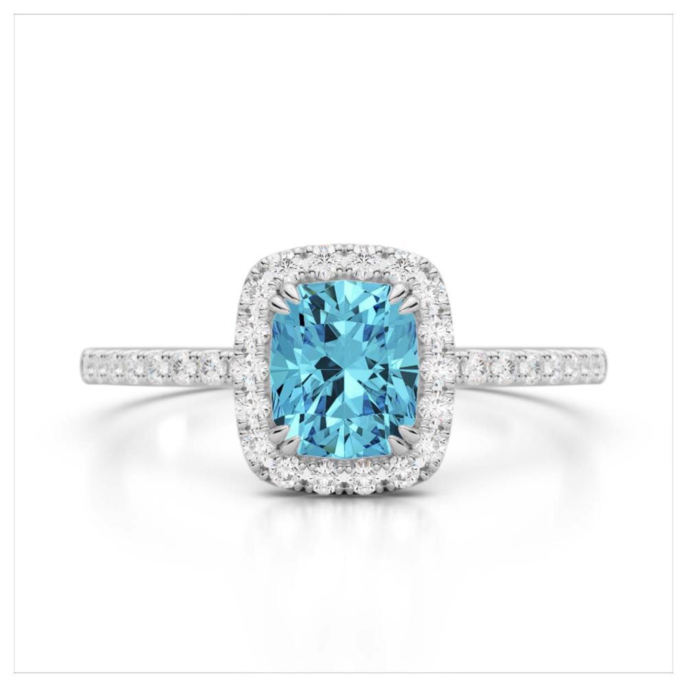 1.25 CTW Genuine Sky Blue Topaz & SI1-SI2 Diamond Ring 10K White Gold