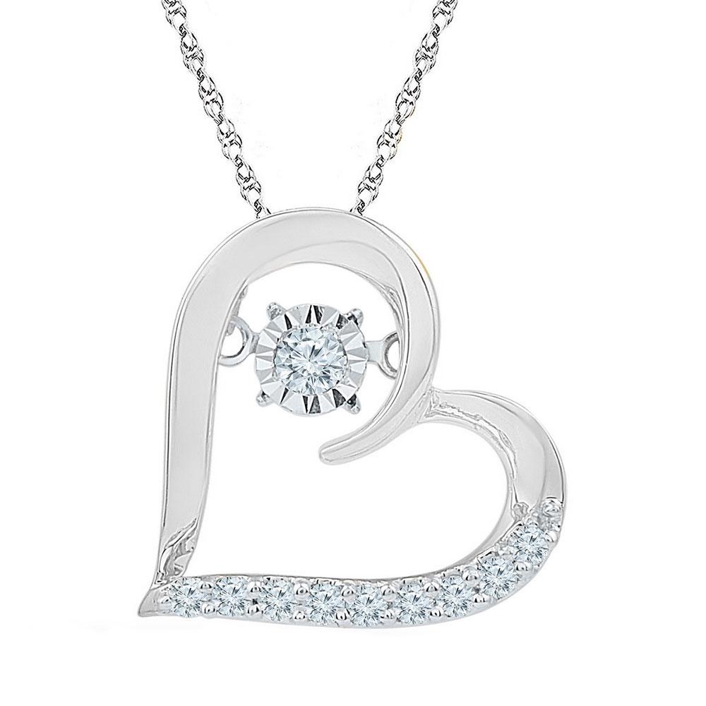 Moving Twinkle Diamond Heart Pendant 10kt White Gold