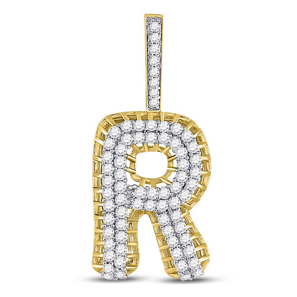 Mens Diamond Letter R Charm Pendant 10kt Yellow Gold