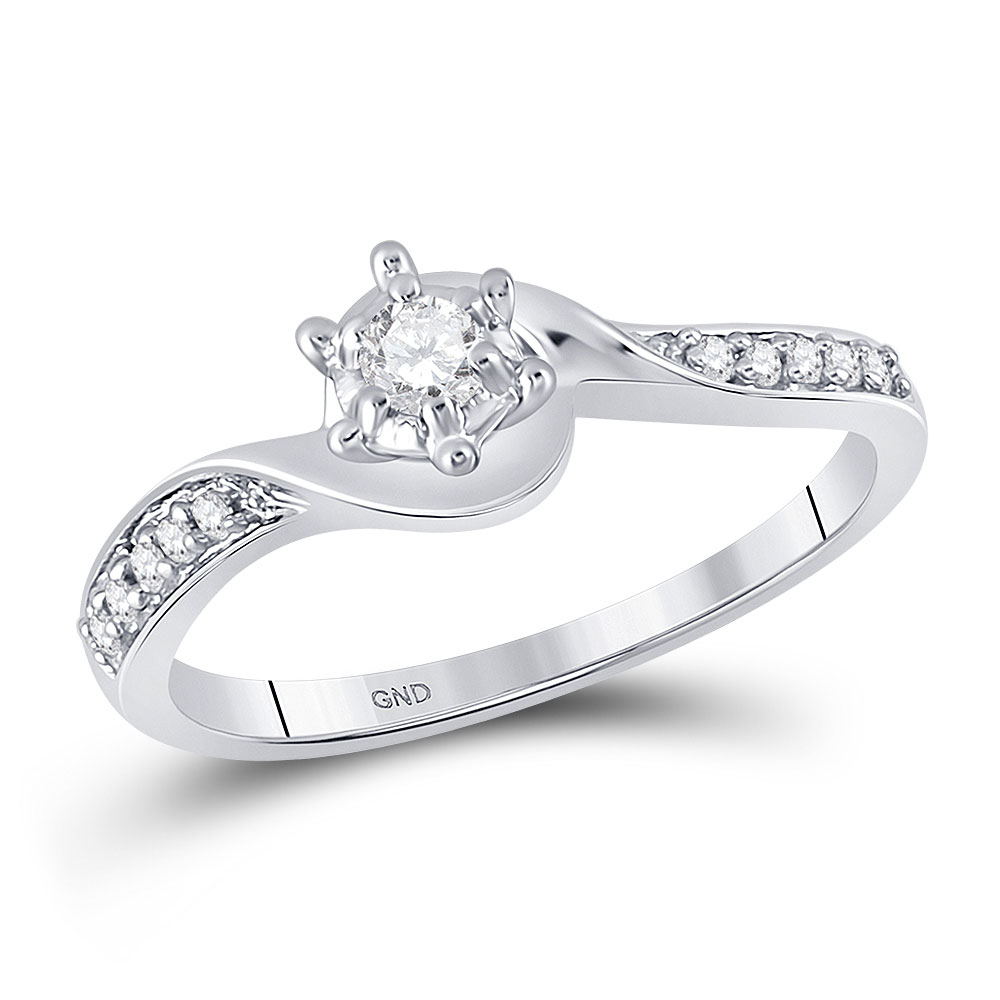 Diamond Solitaire Bridal Wedding Engagement Ring 10kt White Gold