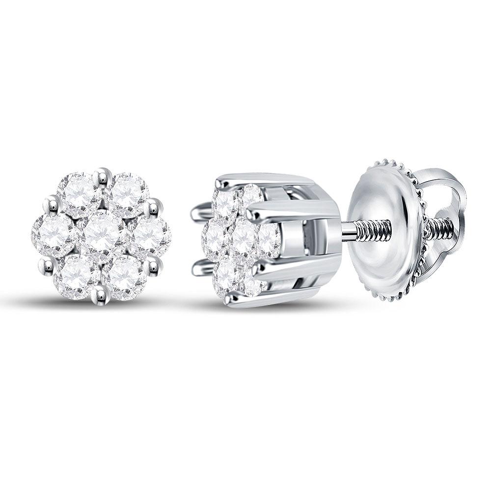 Diamond Flower Cluster Earrings 14kt White Gold