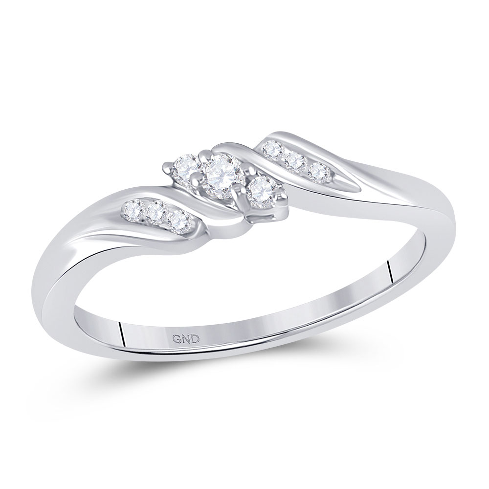Diamond 3-stone Promise Bridal Ring 10kt White Gold