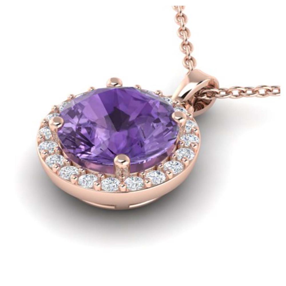 2 CTW Genuine Amethyst & Halo SI1-SI2 Diamond Necklace 14K Rose Gold