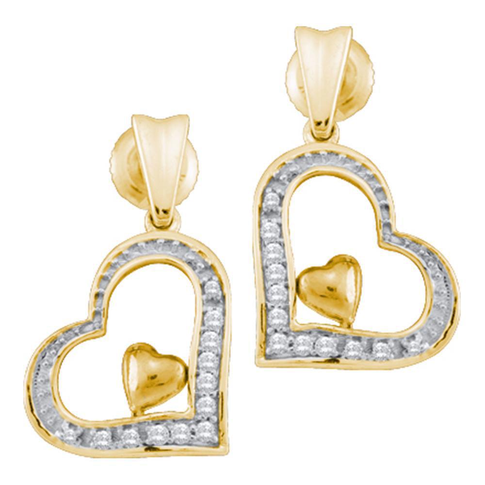 Diamond Heart Dangle Screwback Stud Earrings 10k Yellow Gold