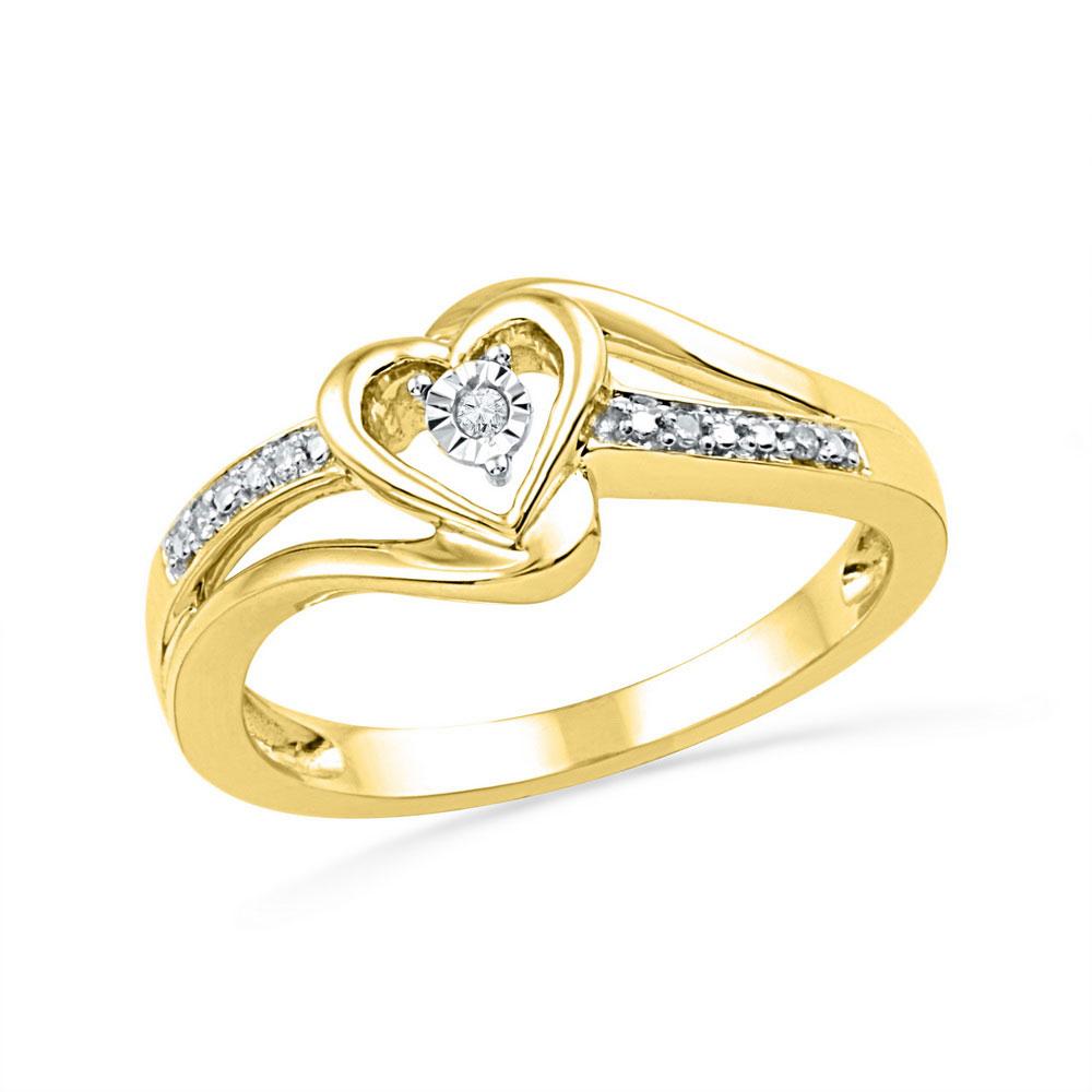 Diamond Heart Promise Bridal Ring 10kt Yellow Gold