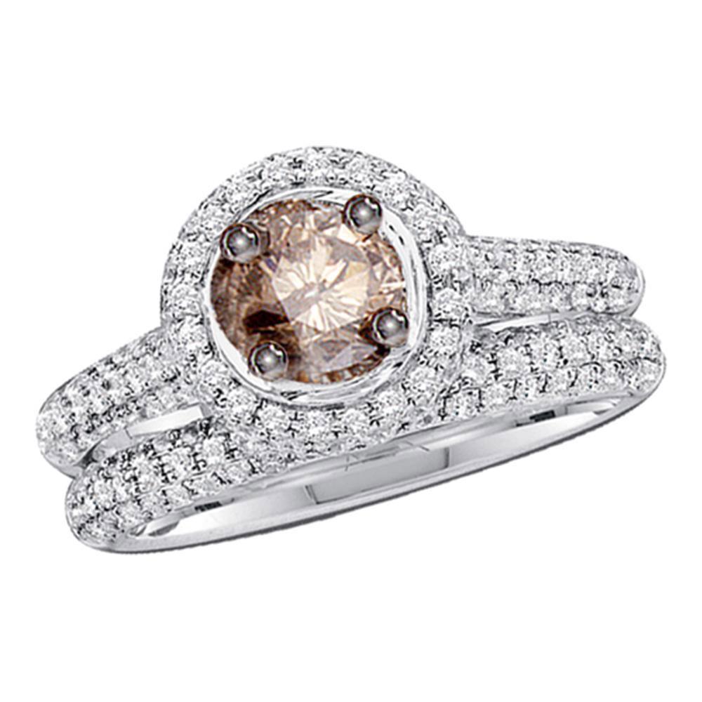 Brown Diamond Bridal Wedding Engagement Ring 14kt White Gold