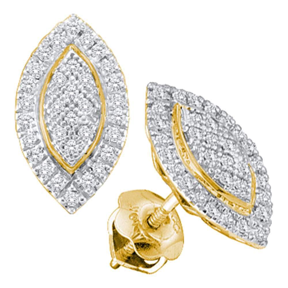 Diamond Cluster Oval Stud Earrings 10kt Yellow Gold