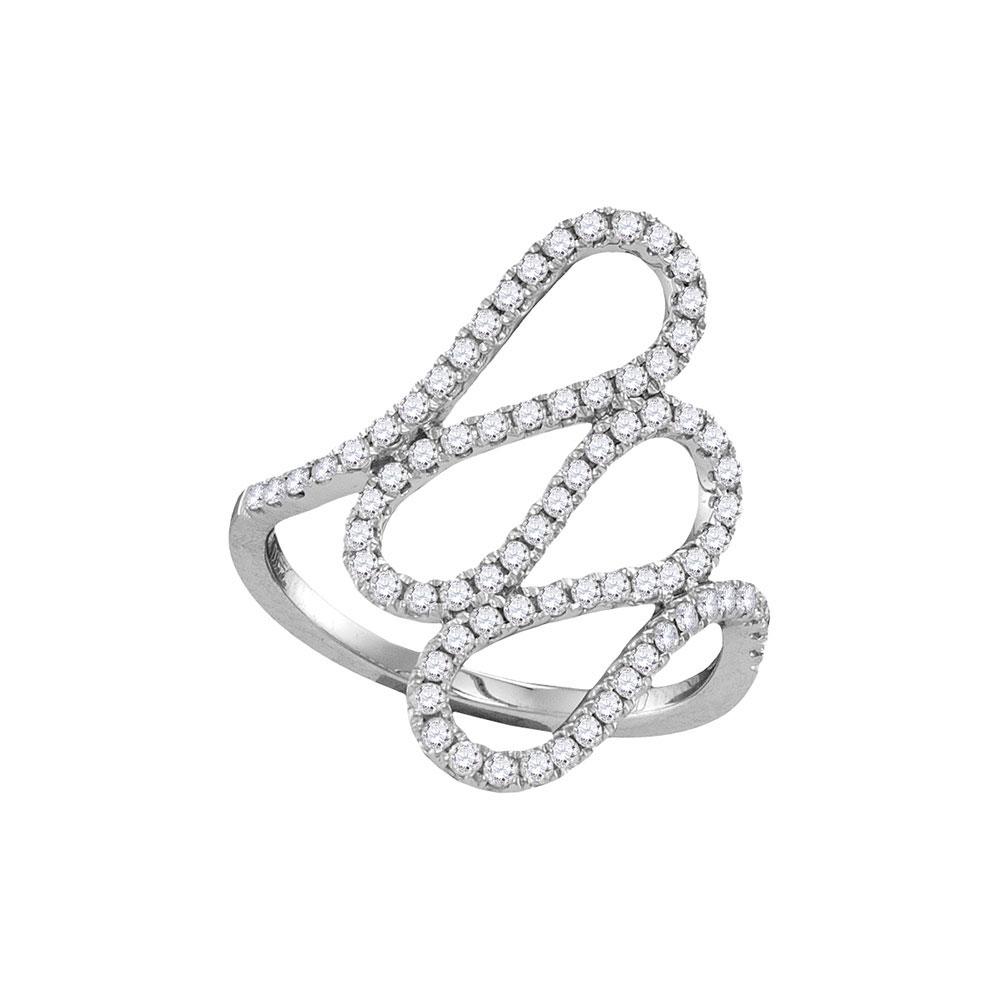 Diamond Openwork Single Row Cascading Ring 18kt White Gold