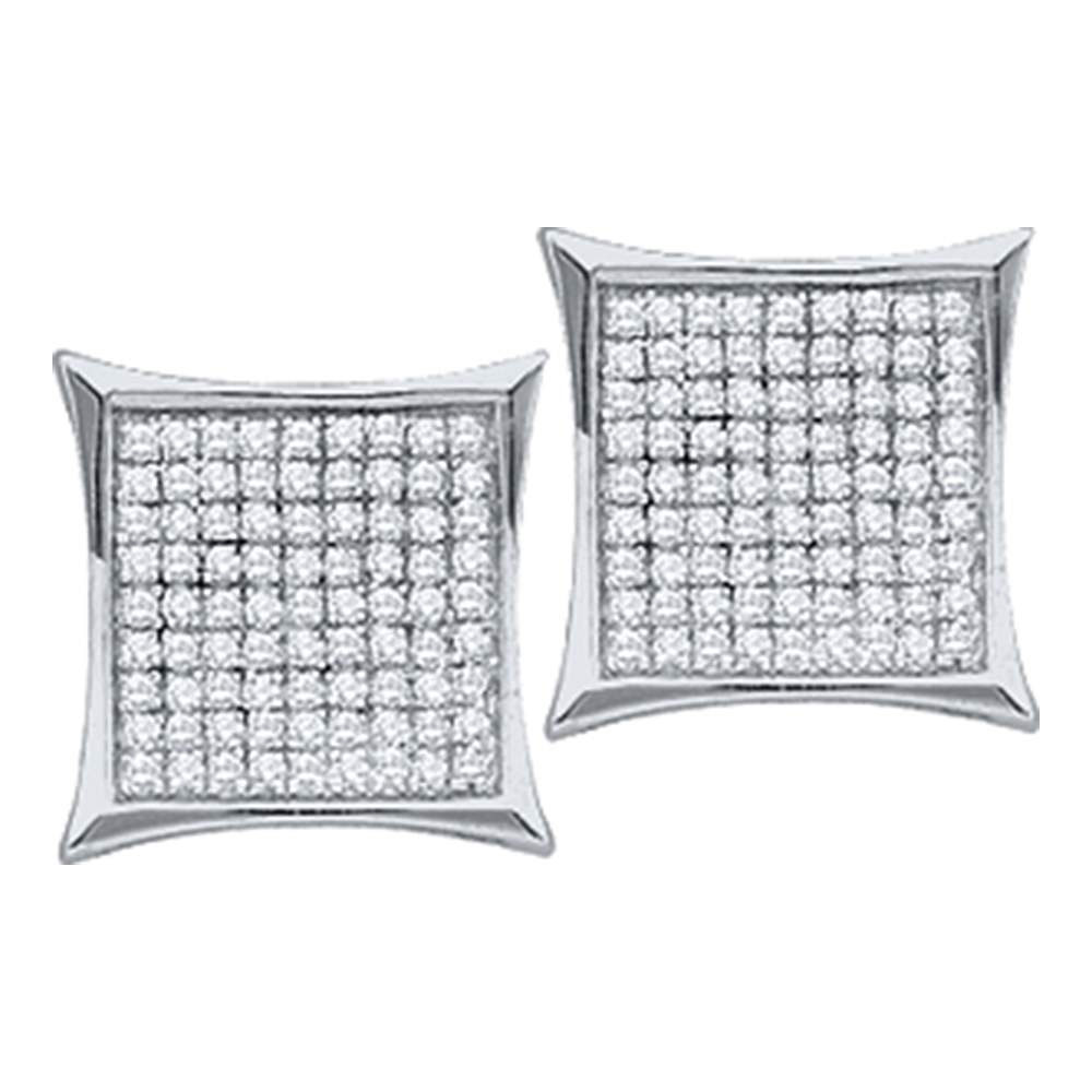 Diamond Square Kite Cluster Earrings 10kt White Gold