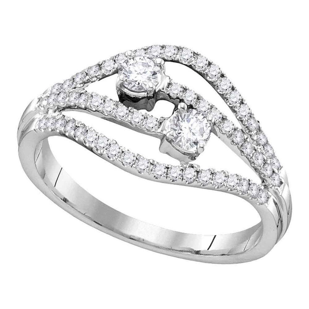 Diamond 2-stone Bridal Wedding Engagement Ring 14kt White Gold