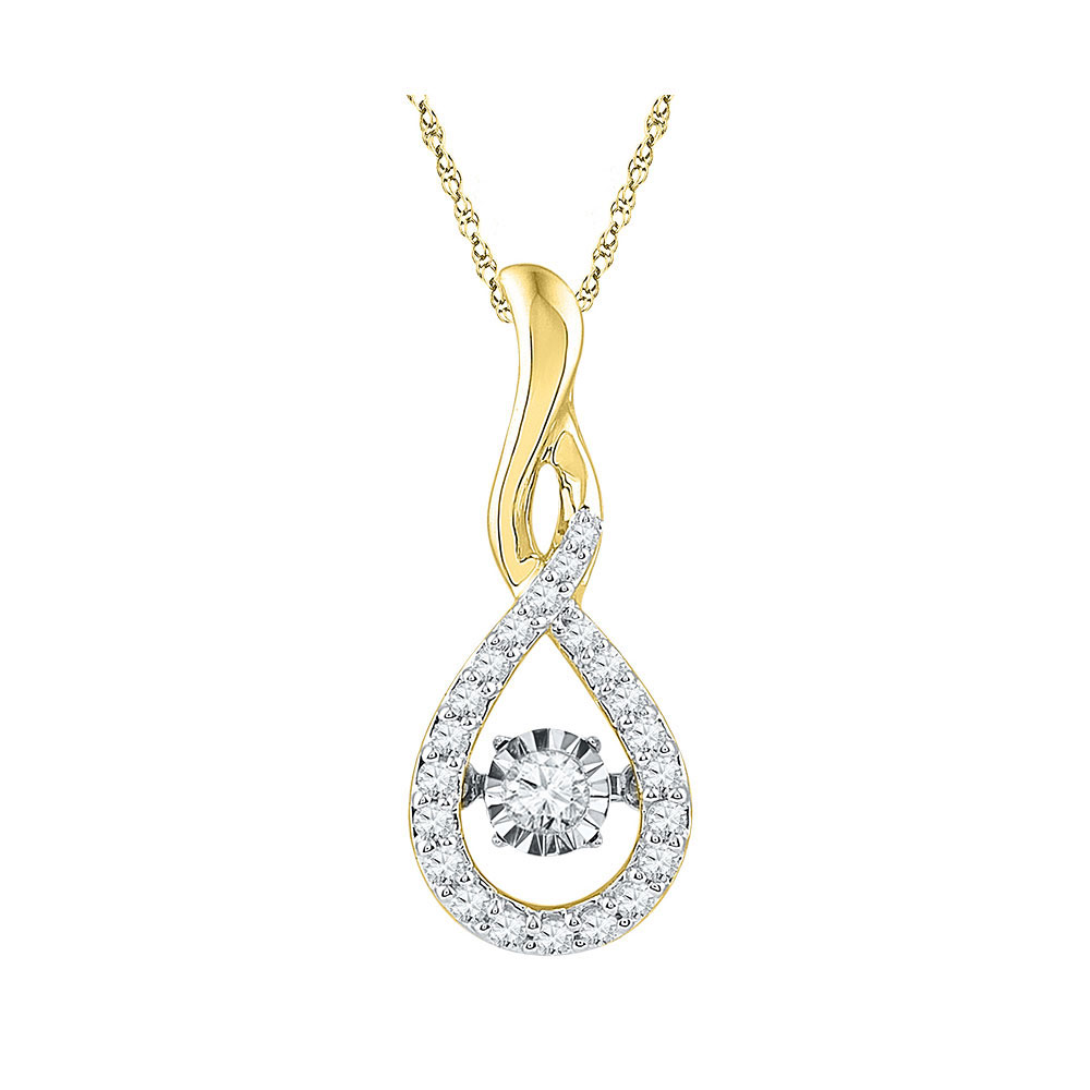 Diamond Solitaire Moving Twinkle Teardrop Pendant 10kt Yellow Gold