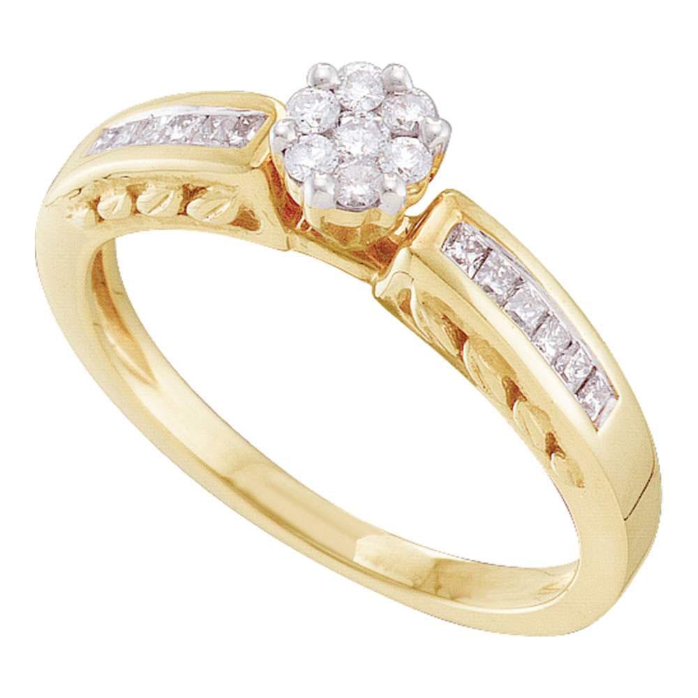 Diamond Flower Cluster Ring 14kt Yellow Gold