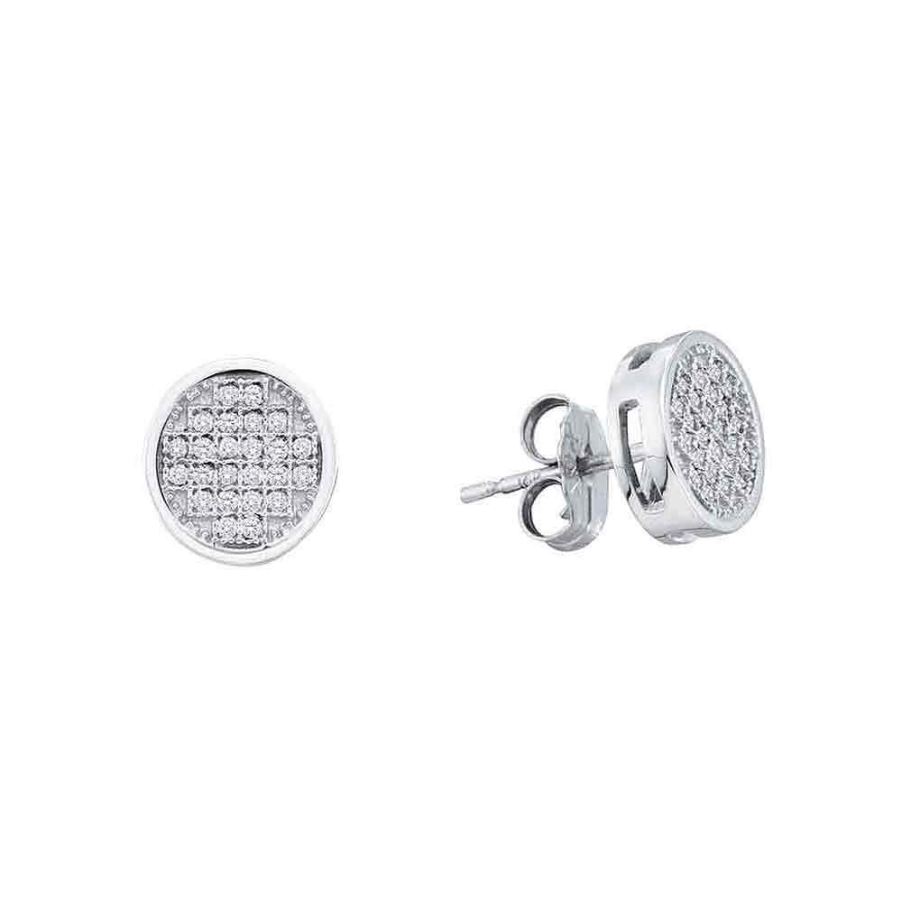 Diamond Circle Cluster Stud Earrings 10kt White Gold