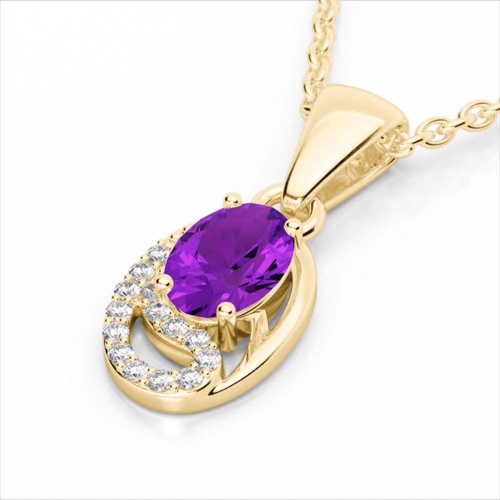 1.25 CTW Genuine Amethyst & SI1-SI2 Diamond Necklace 10K Yellow Gold