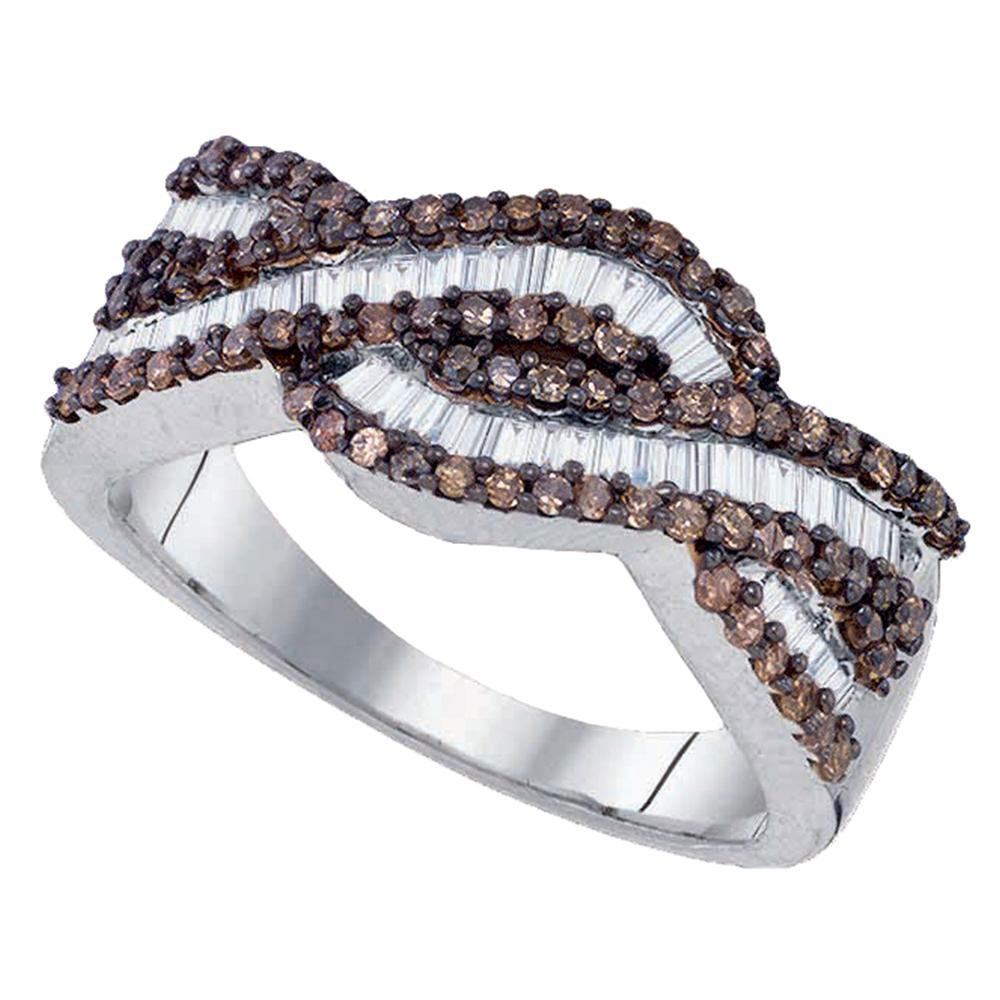 Brown Diamond Woven Band Sterling Silver
