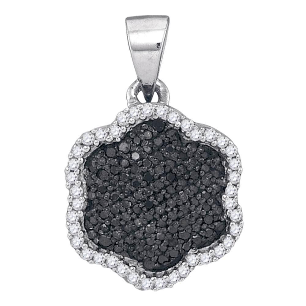 Black Color Enhanced Diamond Hexagon Cluster Pendant 10kt White Gold