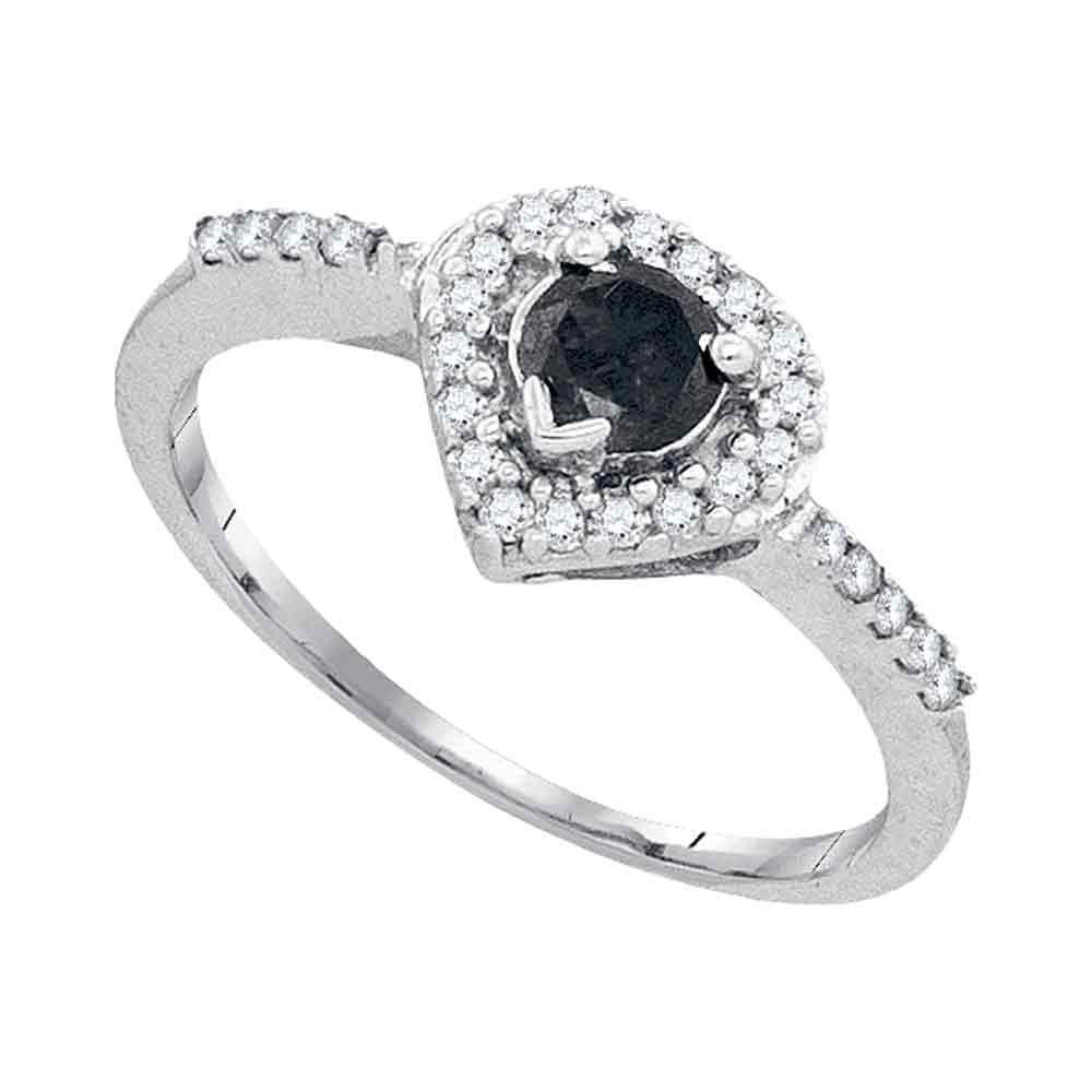 Black Color Enhanced Diamond Heart Ring 10kt White Gold