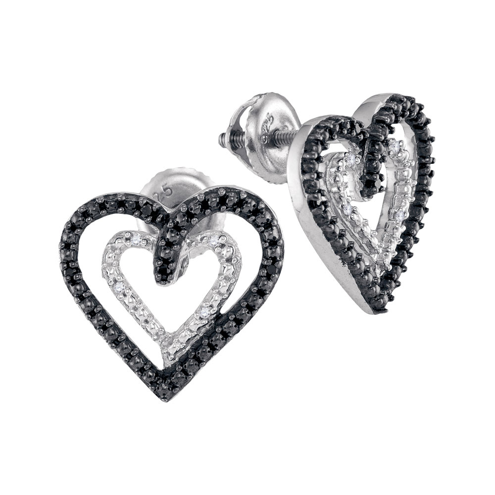 Black Color Enhanced Diamond Double Heart Stud Earrings Sterling Silver
