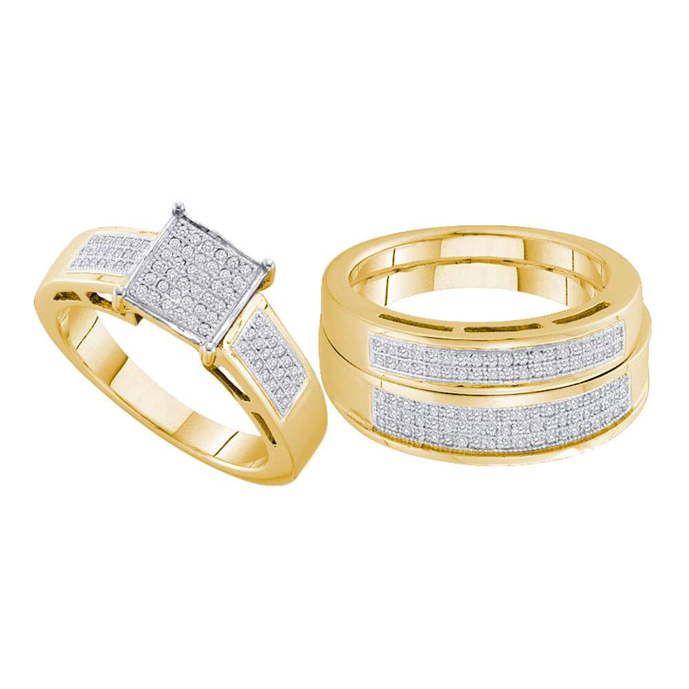 His & Hers Diamond Cluster Matching Bridal Wedding Ring Yellow-tone Sterling Silver