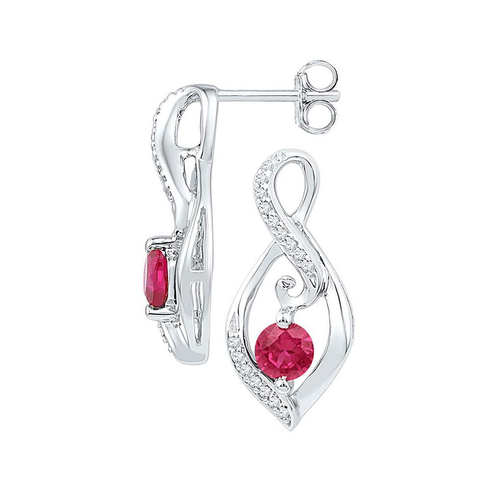 Lab-Created Ruby Diamond Infinity Screwback Earrings Sterling Silver