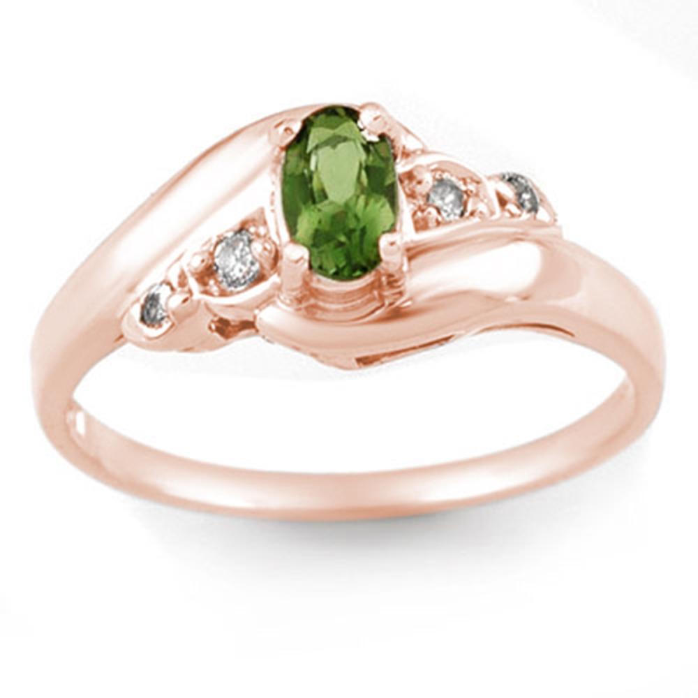 0.42 CTW Genuine Green Tourmaline & Diamond Ring 14K Rose Gold